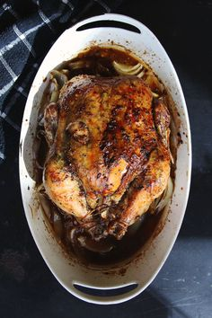 Cookbook author Leah Koenig bastes roast chicken with a mix of maple syrup, balsamic vinegar, and fresh rosemary for a flavorful take on a classic. It makes a lovely centerpiece on Passover, or any night of the year.