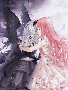 Anime Angel Girl, Cool Anime Girl, Beautiful Anime Girl, Kawaii Anime Girl, Anime Art Girl, Anime Best Friends, Friend Anime, Anime Chibi, Chica Anime Manga