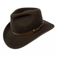 Jaxon Hats Crushable Outback Hat, Brown, Large