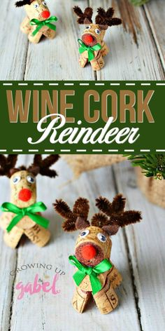 CLICK for the tutorial to make these adorable wine cork reindeer! Easy to make and great for kids! #winecorkcrafts #christmascrafts #reindeerlove