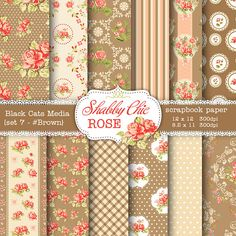 Brown Shabby Chic Digital paper 12 x 12 in AND 8.5x11 in  -Shabby chic rose  instant download – seamless pattern