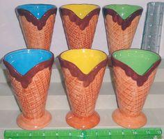 Ice Cream Soda 5 1/2 Inch Ceramic Cone Style Dessert Glasses Cups Set of 6