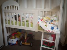 Love!! Transform an old crib into a loft toddler bed! Simple, cheap, practical, fun for the kiddos, and super cute. #diy
