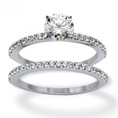 2 Piece 1.72 TCW Round Cubic Zirconia Bridal Ring Set in 10k White Gold at Viomart.com
