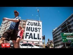 """A giant billboard has been erected at the top of Long Street in Cape Town. In big, bold, black letters it reads: """"Zuma Must Fall"""". Fall Banner, Black Letter, Cape Town, Billboard, South Africa, Street, Sad, Travel, Viajes"""