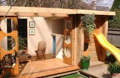 This fun modern playhouse is from Cameron-designs . The company designs small buildings ranging from garden offices to playhouses. The de...