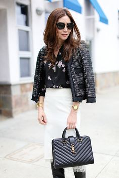 Style: Silky Floral Blouse and Tweed Jacket