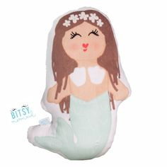 """Molly the Mermaid Bitsy Buddy:  Is it a pillow? Is it a doll?! Yes & YES!  This is Molly. She is a fierce little lady with a wild spirit. She is a real go-getter and never takes no for an answer.  Bitsy Buddies are perfect when you're in need of some Mermaid snuggles  Collect them all!  Approx 12"""" high x 9"""" wide Super soft Minky front Snuggly and durable terry cloth back"""