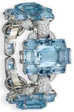 Deco Diamonds and aquamarine bracelet | Fashion Jewellery Antique| Rosamaria G Frangini