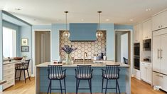 Decorating Ideas for Behr Blueprint: 2019 Color of the Year Behr Blueprint, their 2019 Color of the Year, brings fresh color to a kitchen. Image: Behr Behr recently announced Blueprint as their Trending Paint Colors, Best Paint Colors, Kitchen Paint Colors, Paint Colors For Home, Home Interior, Kitchen Interior, Kitchen Decor, Interior Design, Kitchen Rug