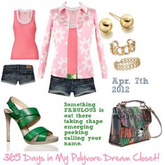 Perfectly preppy pink and green with a bit of edge.