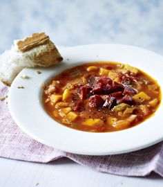 Warm up with this flavoursome soup finished with crisp cubes of chorizo