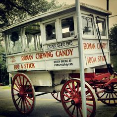 Roman Candy Company: If you want this tasty gourmet taffy, you'll have to find the wagon and mule. It's usually hanging around the streets of Uptown and Downtown. If you come across him, don't pass him by without stopping to buy a stick in Vanilla, Chocolate or Strawberry.