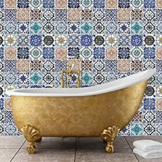 "Walplus 54x54 cm Wall Stickers ""Mosaic Tile Patterns"" Removable Self-Adhesive Mural Art Decals Vinyl Home Decoration DIY Living Bedroom Office Décor Wallpaper Kids Room Gift, Multi-colour"