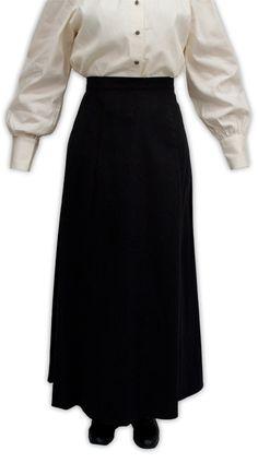 Steampunk Ladies Black Cotton Solid Work Skirt | Gothic | Pirate | LARP | Cosplay | Retro | Vampire || Brushed Twill Gibson Girl Skirt - Black
