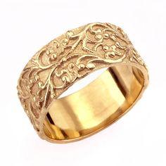 Jahrgang Foilage Breite Eheringe in 14 k gold