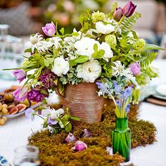 Gorgeous Garden Party Inspiration! Love the centerpiece. Get more ideas here: http://www.bhg.com/party/birthday/themes/fresh-indoor-garden-theme-party/#page=2