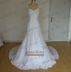 2014 New fashion Brazil cap sleeve lace wedding dress with detachable train