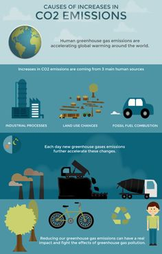 Infographic for non-profit environmental organization, demonstrating the effects of human greenhouse gas emissions on global warming.