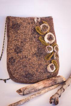 "Felted Bag Handbag Purse Felt Nunofelt Nuno felt Silk Eco handmadered bag Fiber Art boho grey bag a gift for woman ""Rose wood"""