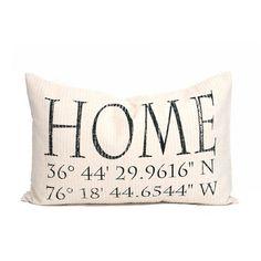 housewarming gift longitude latitude pillow by coverLove on Etsy