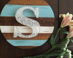 Handcrafted string art on wooden canvases. by maridooodle on Etsy String Art Letters, Nail String Art, String Crafts, Resin Crafts, Easy Diy Crafts, Diy Arts And Crafts, Creative Crafts, Circle Arrow, Bubble Art