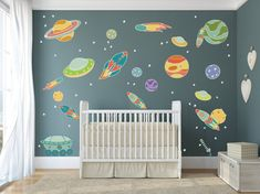 Large Planets with Flying Spaceship, UFOs, and Fun Planets - DASHWD10003  Sizes of Decals in these Sets: Option: A Stars: 1 x 1 Alien Space Ship #1: 16 x 9 Alien Space Ship #2: 8 x 4.5 Alien Space Ship #3: 8 x 4.5 Space Ship #1: 7.5 x 18.5 Space Ship #2: 4.5 x 15 Space Ship #3: 5 x 11.5 Space Ship #4: 4 x 12 Space Ship #5: 3 x 10 Planet #1: 19 x 10.5 Planet #2: 12 x 12 Planet #3: 7.5 x 7.5 Planet #4: 7 x 7 Planet #5: 6 x 6 Planet #6: 5 x 5 Planet #7: 4.5 x 4.5 Planet #8: 11.5 x 11.5 Astroid…