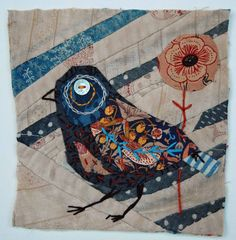 Bird. Unframed applique  with embroidery by MandyPattullo, £25.00 On Pattullo etsy site:  Thead and Thrift