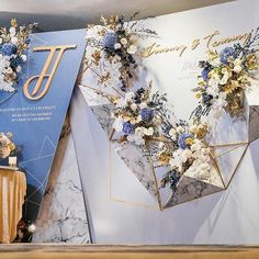 Top choice, but may be too complicated w/ all the flowers Wedding Backdrop Design, Wedding Reception Backdrop, Wedding Stage Decorations, Backdrop Decorations, Wedding Invitation Design, Wedding Venues, Chinese Wedding Decor, Blue Gold Wedding, Corporate Event Design