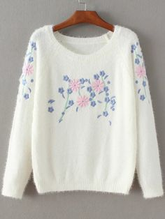 White Floral Embroidery Mohair Sweater -SheIn(Sheinside)