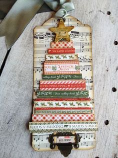 This is an amazing Twelve Days of Christmas tag from Denise Johnson! Love this tree! #graphic45 #tags #holiday