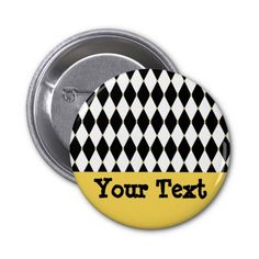 Harlequin Diamond Pattern Pinback Button for Mardi Gras