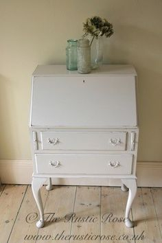 Elegant bureau painted in French Grey by Little Green...