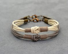 This set of two-tone cotton cord love knot bracelets is a perfect gift for You and your girlfriend or boyfriend or as long distance couples gift. This thin bracelets are suitable for everyday wearing. This matching couples Her his bracelets will be made personally for you according to