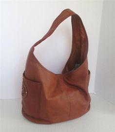Authentic Tory Burch Cognac Brown Soft Leather Julie Hobo Tan Handbag Purse   ToryBurch  ShoulderBag 482002e146