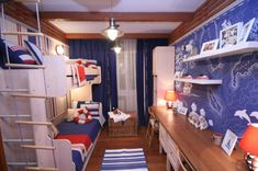 Cool Boy Bedroom Design Ideas: Blue Nautical Theme With Map Wallpaper And Bunk Bed For Two Brother – Unburro