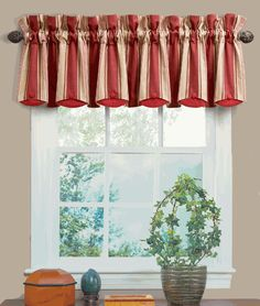 Yacht Club Stripe Crimson Chatham Valance by Waverly is a large scaled stripe of gold, beige & crimson, get the custom look at a discount price. #Layered #Valances
