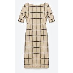 Zara Printed Tube Dress ($129) ❤ liked on Polyvore featuring dresses, camel, zara dresses, floral printed dress, camel dress, flower pattern dress and brown dress