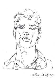 "LIne drawing Linienzeichnen  ""Gaze 517 (Jacob Bixenman)″, continuous line drawing by Boris Schmitz"