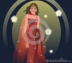 Modelli sulla passerella con il vestito da sera rosso Elegante con i veli e lo scintillio trasparenti