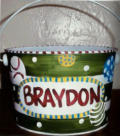 Hand painted personalized easter bucket or easter basket for girls ...