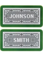 """Stitch your family name in capital block letters with a beautiful swirl border design. Stitched using size 10 thread, it measures approximately 9 1/2"""" x 24"""". Alphabet is included. Please note this pattern does not include written instructins, so knowledge of chart reading is required."""