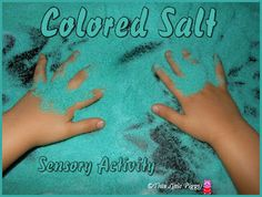 Salt tray with food colouring mixed- base for play/shapes/letters/numbers/prints etc.