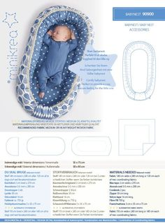 Size: Baby / Newborn Interior dimensions: 35 x 75 cm External dimensions: 50 x 85 cm  Description: Lovely baby nest..  Pattern available in English Perfect for providing a cosy, secure feeling for the little one.  Product: Paper pattern - This is a printed paper sewing pattern. This pattern contains a full size pattern, a detailed instruction booklet ans translations.  Languages: Includes Danish, German, English.