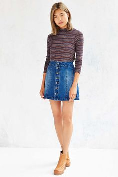 BDG Denim Seamed Skirt - Urban Outfitters