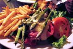 Yes, there is a grilled cheese sandwich in here somewhere, though it's obscured by all the ham and asparagus stuffed into it. This is from the Pot Belly Pub and Restaurant in Ludlow, VT, by the way. (A big hangout for skiers.)
