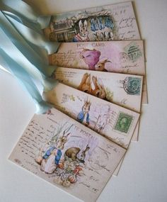 postcards to bookmarks with ribbons.  So simple yet great!
