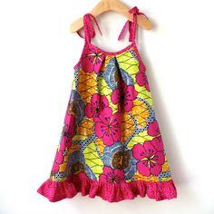 African Wax Print - Size 18 Month Cotton Sundress - Pattern designed by ithinksew.com