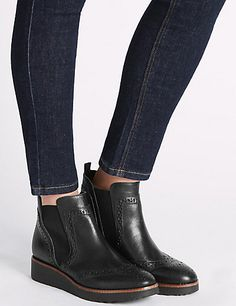 Leather Brogue Detail Ankle Boots