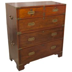 Campaign Chest on Chest | From a unique collection of antique and modern commodes and chests of drawers at https://www.1stdibs.com/furniture/storage-case-pieces/commodes-chests-of-drawers/